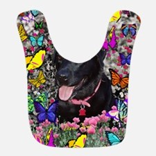 Abby Black Lab Butterflies Bib