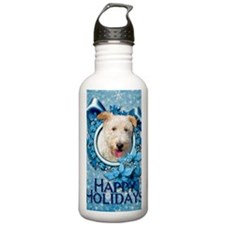 Blue_Snowflake_Wire_Fo Sports Water Bottle