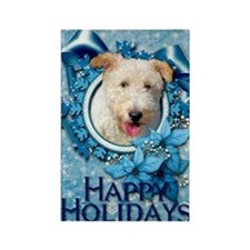Blue_Snowflake_Wire_Fox_Terrier_H Rectangle Magnet
