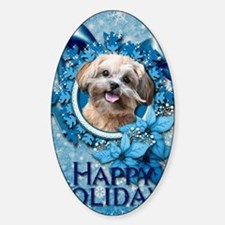 Blue_Snowflake_ShihPoo_Maggie Sticker (Oval)