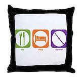 Music clarinet Throw Pillows