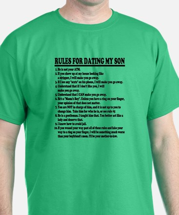 Rules For Dating My Son (Black Text) T-Shirt