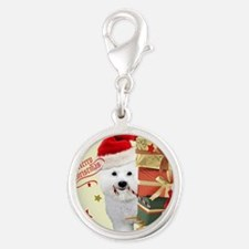 Sleigh and gifts Bichon Cards Silver Round Charm