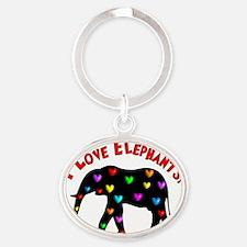 I love Elephants Oval Keychain