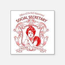 """social secretary badge copy Square Sticker 3"""" x 3"""""""