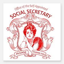 "social secretary badge c Square Car Magnet 3"" x 3"""