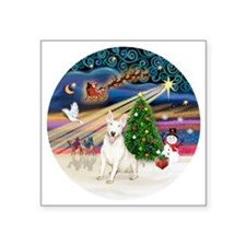 "Xmas Magic - Bull Terrier 4 Square Sticker 3"" x 3"""