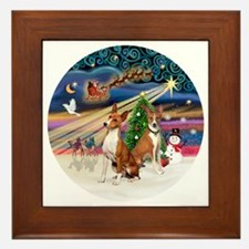 Xmas Magic - Basenjis (two) Framed Tile
