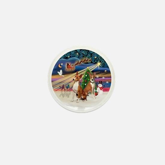 Xmas Magic - Basenjis (two) Mini Button