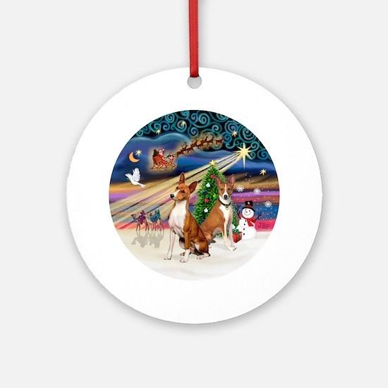 Xmas Magic - Basenjis (two) Round Ornament
