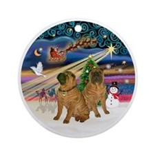 Xmas Magic - Chinese Shar Pei (TWO) Round Ornament