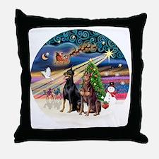 Xmas Magic - Dobermans (TWO-Blk-Red) Throw Pillow