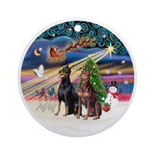 Xmas Magic - Dobermans (TWO-Blk-Red Round Ornament
