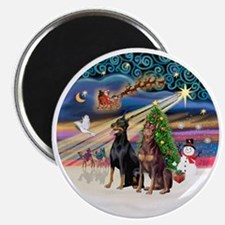 Xmas Magic - Dobermans (TWO-Blk-Red) Magnet