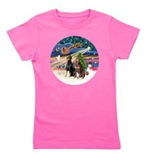 Xmas Magic - Dobermans (TWO-Blk-Red) Girl's Tee