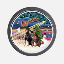 Xmas Magic - Dobermans (TWO-Blk-Red) Wall Clock