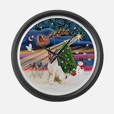 Xmas Magic - Fox Terrier (brown-S Large Wall Clock