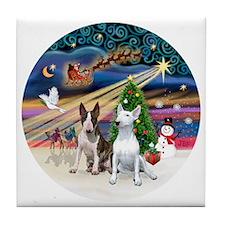 Xmas Magic - Bull Terriers (two) Tile Coaster