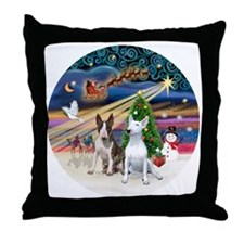 Xmas Magic - Bull Terriers (two) Throw Pillow