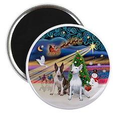 Xmas Magic - Bull Terriers (two) Magnet