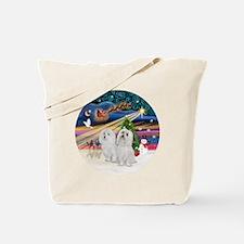 Xmas Magic - Maltese (TWO) Tote Bag