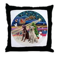 Xmas Magic - Labradors (Choc-Yellow) Throw Pillow