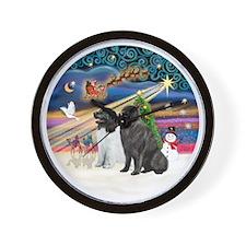 Xmas Magic - Newfoundlands (TWO-LdS+Bla Wall Clock
