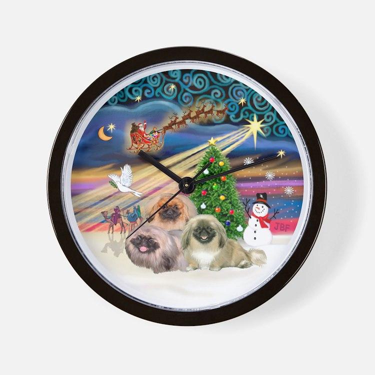 Xmas Magic - Pekingese (Three) Wall Clock