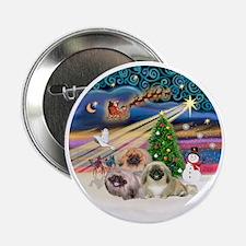"Xmas Magic - Pekingese (Three) 2.25"" Button"