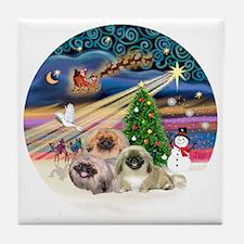 Xmas Magic - Pekingese (Three) Tile Coaster