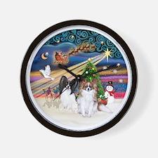Xmas Magic - Papillons (two-BW+Sable) Wall Clock
