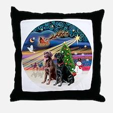 Xmas Magic - Labradors (black-chocola Throw Pillow