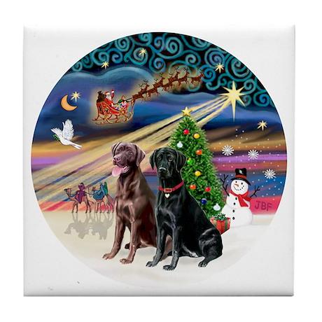 Xmas Magic - Labradors (black-chocola Tile Coaster