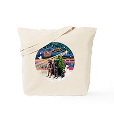 Xmas Magic - Labradors (black-chocolate) Tote Bag