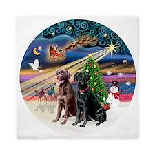 Xmas Magic - Labradors (black-chocolat Queen Duvet