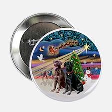 """Xmas Magic - Labradors (black-chocola 2.25"""" Button"""