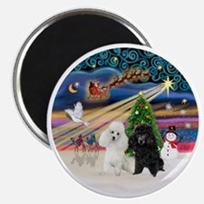 Xmas Magic - Poodles (TWO toy-BW) Magnet