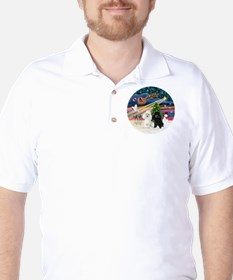 Xmas Magic - Poodles (TWO toy-BW) Golf Shirt