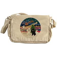 Xmas Magic - Poodles (TWO toy-BW) Messenger Bag