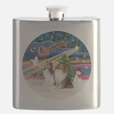 Xmas Magic - Shelties (TWO sable-white) Flask