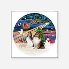 "Xmas Magic - Shelties (TWO  Square Sticker 3"" x 3"""
