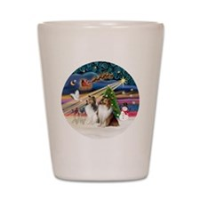 Xmas Magic - Shelties (TWO sable-white) Shot Glass