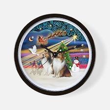 Xmas Magic - Shelties (TWO sable-white) Wall Clock