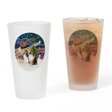 Xmas Magic - Shelties (TWO sable-wh Drinking Glass