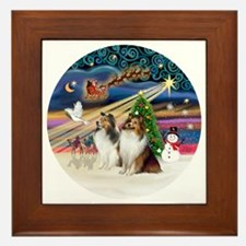 Xmas Magic - Shelties (TWO sable-white Framed Tile