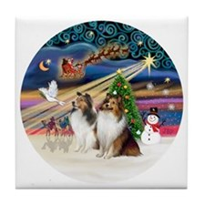 Xmas Magic - Shelties (TWO sable-whit Tile Coaster