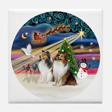 Xmas Magic - Shelties (TWO sable-whit Tile Coaster