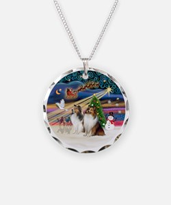 Xmas Magic - Shelties (TWO s Necklace Circle Charm