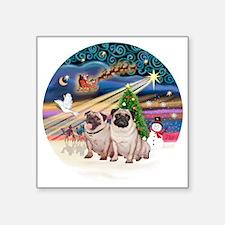 "Xmas Magic - Pugs (Two fawn Square Sticker 3"" x 3"""