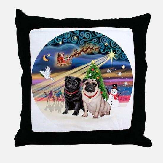 Xmas Magic - Pugs (TWO-fawn+Black) Throw Pillow